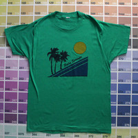 Vintage Palm Springs shirt | 1980s Palm Springs Ca t-shirt men M | 80s California tee women L | Screen Stars palm tree print sunset graphic