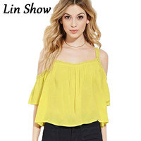 Crochet Loose Off Shoulder Solid Women Blouses Summer Cute Yellow Beach Female Backless Sexy Casual Shirts