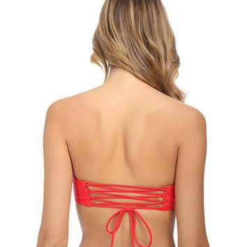 Body Glove Red Smoothies Marilyn Corset Lace Back Bikini Top Size Small