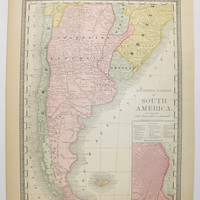 1881 Argentina Map, Chile Uruguay Map 1881 Rand McNally Map Southern South America Map, Falkland Islands Buenos Ayres, Vintage Map Argentina