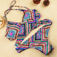 SIMPLE - Retro Vintage Sexy Floral Printed Criss Cross Back Swimwear Bikini Set a11192