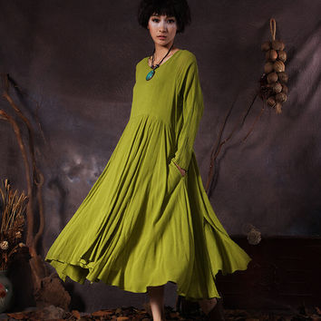 long-sleeved vintage maxi dress