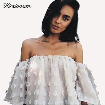 Sexy Off Shoulder Blouses Women 2017 New Puff Sleeve 3D Floral Tops Grisl Ruffles Blouse Shirt Streetwear Elegant Beach Blusas