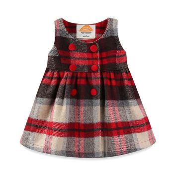 Mudkingdom Baby Girls Winter Plaid Dress Kids Preppy Style O-neck Button Sleeveless Tartan Dresses With Bow Children Clothing