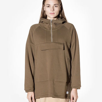 French Terry Anorak Pullover in Shadow Olive: WMNS