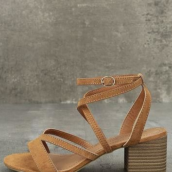 c471859e03e5 Madden Girl Leexi Chestnut Suede High Heel Sandals
