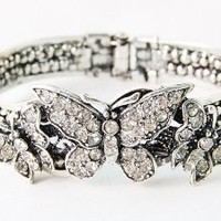 Vintage-like Silver-tone Crystal Rhinestone Butterfly Trio Bracelet Bangle Cuff: Jewelry: Amazon.com
