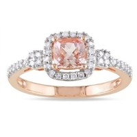 10K Rose Gold Morganite and Diamond Ring (.2 Cttw, G-H Color, I1-I2 Clarity), Size 7:Amazon:Jewelry