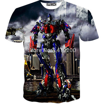 2015 summer Optimus Prime t-shirts Men Transformers Blaster 3D Print t shirt cropped cartoon fiction Women clothing brand 5693