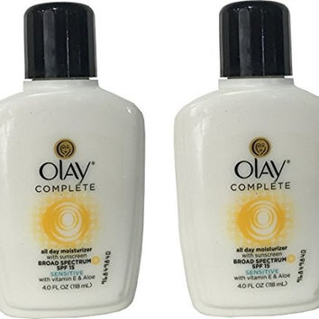 Olay Complete All Day Moisture Lotion, Sensitive Skin, SPF15, 4 Ounce (Pack of 2)