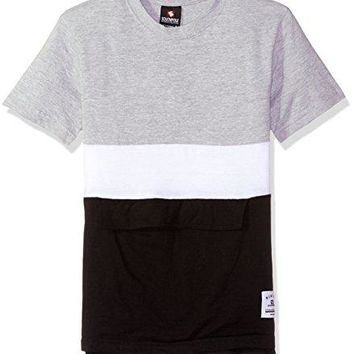 Southpole Big Boys' Colorblock Short Sleeve Fashion Tee (Age 8-20), Heather Grey(Anorak), Small