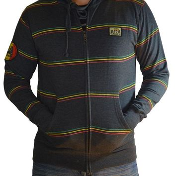 Bob Marley RASTA LION STRIPE Zip Up Hoodie Hooded Sweatshirt NEW 100% Authentic
