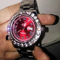 Rolex New Fashion Couple Diamond Red Dial Watch Stainless Steel Wristwatch