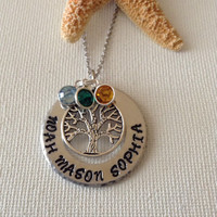 Family tree necklace with swarovski birthstones, tree of life, personalized handstamped name necklace, mothers, grandmothers, nana gifts.