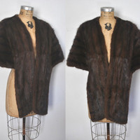 MINK Fur Stole  / Brown Cape /  1950s capelet / S-L