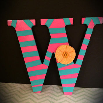 Bright and Colorful Decorated Monogram-Letter W by Tightly Wound Designs