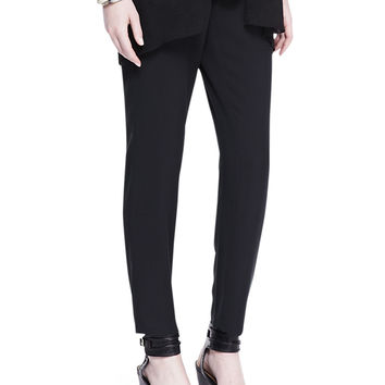 Women's Cropped Crepe Drawstring Pants - Eileen Fisher - Black