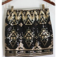 Black and Gold Sequin Aztec Skirt