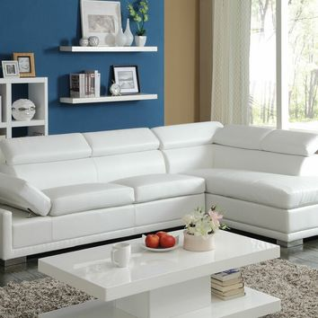 2 pc Cleon collection modern styling white bonded leather sectional sofa with adjustable headrests and chrome legs