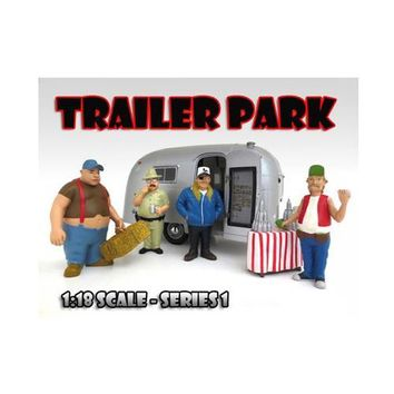 """""""Trailer Park"""" Figure Set of 4pc For 1:18 Scale Diecast Model Cars by American Diorama"""