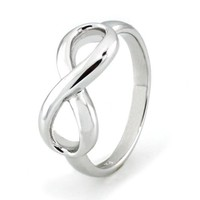 Sterling Silver Infinity Ring (Size 8) Available Size: 4, 4.5, 5, 5.5, 6, 6.5, 7, 7.5, 8, 8.5, 9, 9.5, 10