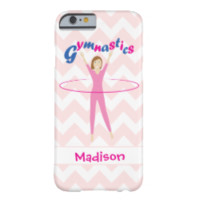 Gymnastics Pink hula hooping girl Chevron + name Barely There iPhone 6 Case