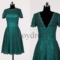 Custom Teal Short Sleeves Vintage Short Prom Dresses Evening Gowns Wedding Party Dresses Party Dresses Cocktail Dress Homecoming Dresses