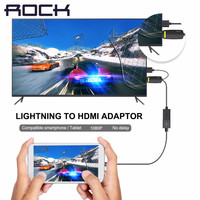 ROCK 1080P Lightning to HDMI Adapter for iPhone SE 6 6s 6 plus hdtv adapter HDMI Cable iPhone to TV video audio output converter