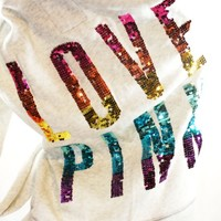 Victoria's Secret LOVE PINK Hoodie Jacket Coat 2012 FShow Rainbow Sequin S Small