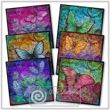 "Boho Butterfiles Collage Sheet, 3.8"" X 3.8"" Coaster Tiles, Printable Images, Instant Download, Paper Craft Supplies"