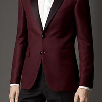 2016 Groom Tuxedos Burgundy Slim Fit Custom Made Groomsmen Best Man Men Wedding Suits Prom Formal Tuxedos ( jacket+Pants+tie)