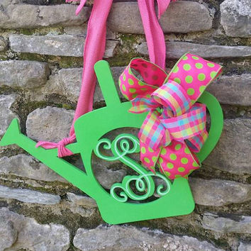 Summer Monogram Watering Can Door Hanger Gardening Decor Back Porch Decor Back Door Monograms Bright Summer Monogram Green Watering Can Pink