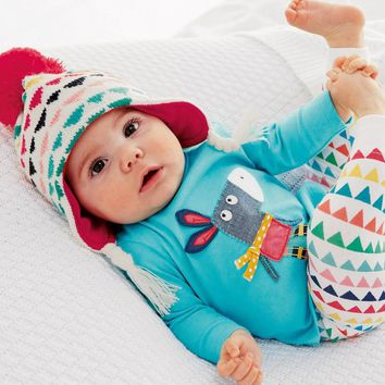 New 2018 Autumn Baby Boys Girls Clothing Sets Cartoon Little Donkey T-shirt+Colorful Pants 2pcs Newborn Toddler Clothes Outfits