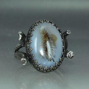 An Agate Organic Oak Twig Silver  Jewelry Handmade  Metalwork Ring Solitare Ring Womans Ring