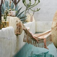 Beaded Jute Hammock by Anthropologie in Natural Size: One Size Garden
