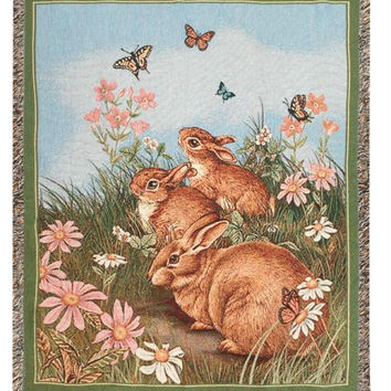 Easter Spring Tapestry Throw Blanket - Butterflies And Bunnies