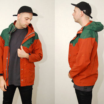 vintage COLORBLOCK PARKA (S) green 70s Outdoor orange retro hike day walk hood jacket small fire rust burnt umber camp gear anorak 1970s mod
