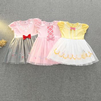 Mermaid girls Dress Sleeping Beauty A-line dresses Girl Belle Princess Cosplay Party Dress kids summer clothing H1010