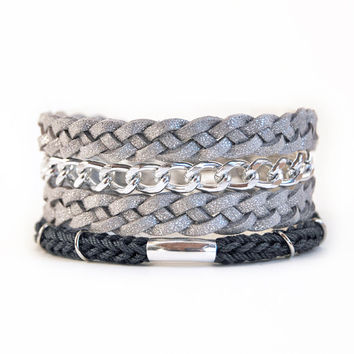 Braided wrap bracelet with chunky chain, faux leather wrap bracelet, silver wrap bracelet, silver and gray