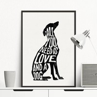 Dog Minimalist Poster Italian Greyhound, Nordic Wall Art Print Canvas Painting Wall pictures for living room Home Decor No Frame