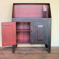 High Back Dry Sink - Handmade to Order - Black on Red on Black Distressed Paint Finish