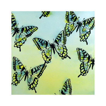 Butterfly Art Watercolor Painting Mothers Day Spring Summer Blue Monarch Chartreuse Insect Lime Green and Turquoise 12 x 12 Price Under 30