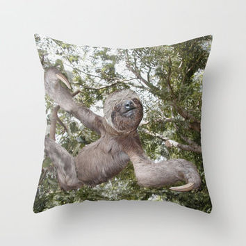 The Sloth ~ A Real Tree Hugger Throw Pillow by Bruce Stanfield