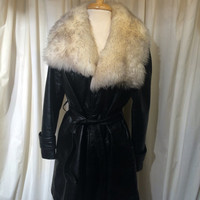 SEARS Vintage Leather coat jacket faux fox collar black leather big collar 70s mid century modern leather coat white fur SIZE M / L