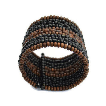 Black Brown Layered Memory Wire Bracelet Natural Stone Wire Wrap Bracelet Earthtone Thick Wire Bracelet Boho Bohemian  Beach Jewelry Women