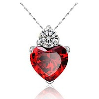 Ruby Royal Heart Pendant Necklace