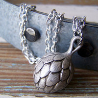Artichoke Necklace - Silver Artichoke Pendant - spring fashion - garden inspired