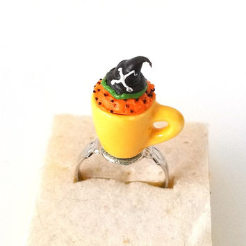 Miniature Halloween Cupcake in Mug Witch Hat ring with adjustable ring band, Miniature food jewelry, Halloween accessories