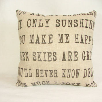 You are my Sunshine Pillow by cayteelynn on Etsy