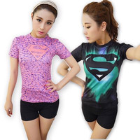 Women t-shirt bodys armour marvel captain america/superman/batman/Spiderman compression t shirt girl under tees fitness tights